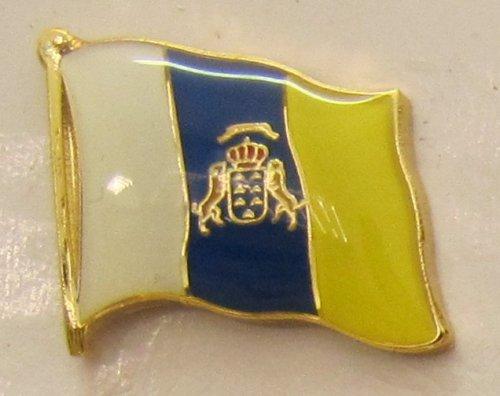 Buddel-Bini Versand Pin Anstecker Flagge Fahne Kanaren Kanarische Inseln Spanien Flaggenpin Badge Button Flaggen Clip Anstecknadel