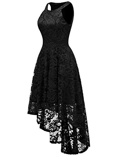 Dressystar Women's Halter Floral Lace Cocktail Party Dress Hi-Lo Bridesmaid Dress 4