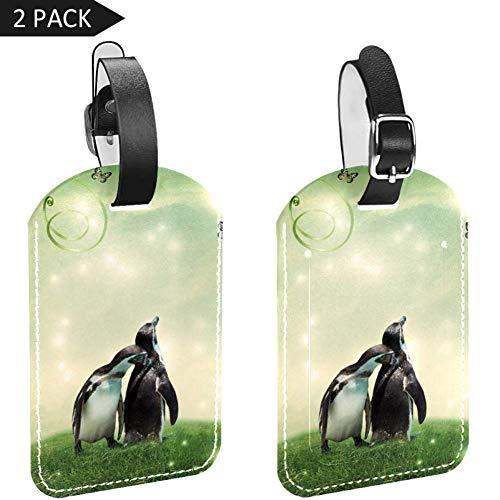 LORVIES Pinguïns Knuffel Vlinder Bagage Tags Reizen Labels Tag Naam Kaarthouder voor Bagage Koffer Tas Rugzakken, 2 PCS