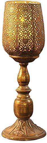 Candelabros candelabros retro tailandés candelabro vintage hierro forjado tallado hueco lámpara noche candelabro candelabro para sala de estar comedor mesa centros de mesa soporte decoración