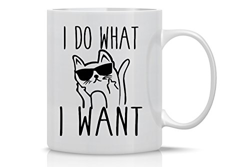 I Do What I Want - 11oz Ceramic Coffee Mug - Cat Lover Gifts For Women - Funny Crazy Grumpy Cat Mom Or Dad - Inspirational & Sarcastic Mug Gifts For Bosses, Employees, Family And Friends - CBT Mugs