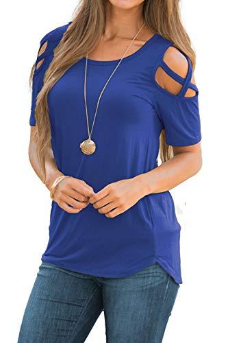 NICIAS Damen Sommer Kurzarm T-Shirt Oberteil Schmales Strappy Cold Shoulder Rundhal Hemd Lässige Tunika Bluse Shirt Blau L