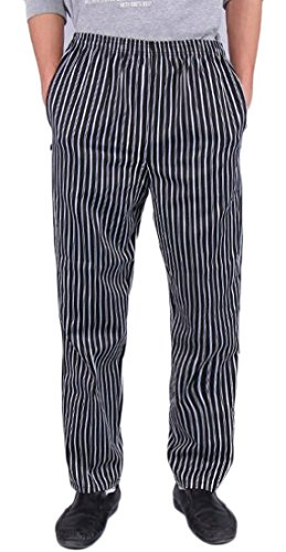 Generic Chef Uniforms Men's Stripe Checkered Chef Pants with Elastic Waist Black L