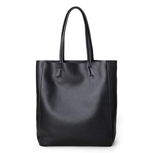 Mdsfe Bolso de Lujo para Mujer Bolso Casual Bolso de Hombro de Moda de Color Amarillo limón para Mujer Bolso de Compras de Hombro de Cuero Genuino de señora Cowhide - Negro, a1,36cm