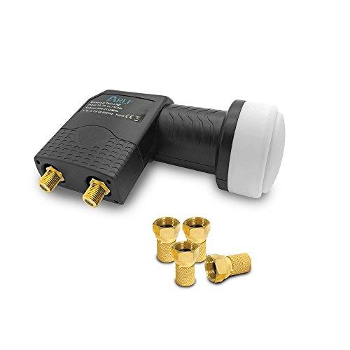 UHD Twin LNB + 4 F Stecker vergoldet HQ ARLI Sat...