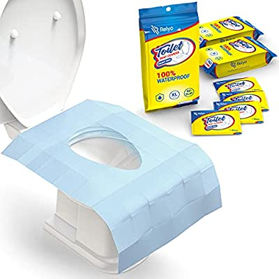 Toilet Seat Covers Disposable 100% Waterproof (30 Pack) - XL Disposable Toilet Seat Covers for Adults and Kids Potty Training - Travel Accessories for Public Restrooms, Airplane, Camping from Relyo