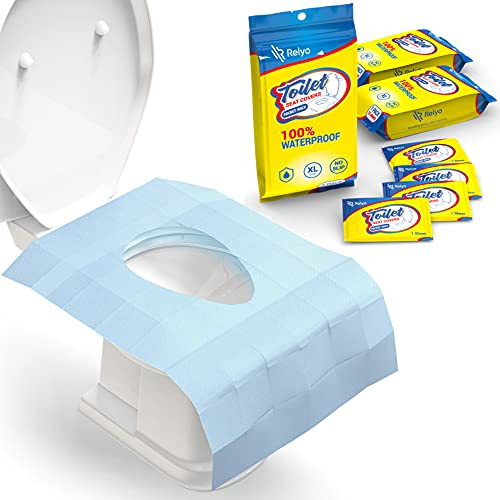 Toilet Seat Covers Disposable 100% Waterproof (30 Pack) - XL Disposable Toilet Seat Covers for Adults and Kids Potty Training - Travel Accessories for Public Restrooms, Airplane, Camping