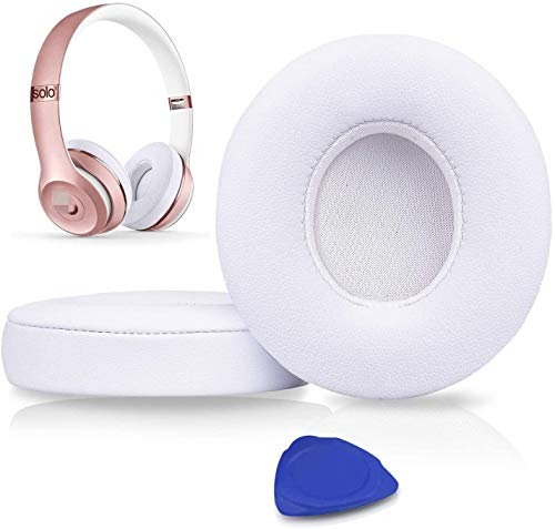 Professional Ear Pads Cushions Replacement, Earpads Compatible with Beats Solo 2 & Solo 3 Wireless On-Ear Headphones with Soft Protein Leather/Strong Adhesive Tape
