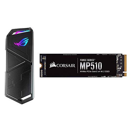 Corsair MP510, Force Series, 960 Go Ultra-Rapides PCIe Gen 3 x4, M.2 NVMe, Disque SSD (Jusqu'à 3 480 Mo/s Lecture Séquentielle) + ASUS ROG Strix Arion Boîtier SSD (M.2, NVMe)