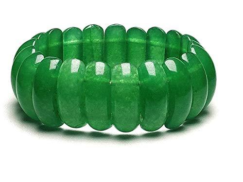 Pulsera de jade verde natural para mujer ajustable elástica