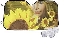 ひまわりを持つ少女サンシェード 車用 カーシェード 遮光 遮熱 車窓日よけ 日よけ UV 紫外線防止 暑さ対策 簡単取り付け 吸盤