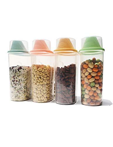 ifboxs Frischhaltebehälter, luftdicht, für trockene Lebensmittel, Reisbehälter, BPA-frei, große Küche, Speisekammer, Müslibehälter für Mehl, Snacks, Nüsse und mehr (2,5 l, 4 Stück)