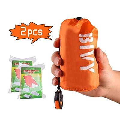 PIXRIY Emergency Sleeping Bag 2 PCS Waterproof Thermal Bivy Bag Sack Survival Sleeping Bag, Emergency Blanket Lightweight Portable Life Saving for Camping, Hiking, Outdoor, Activities (Orange)