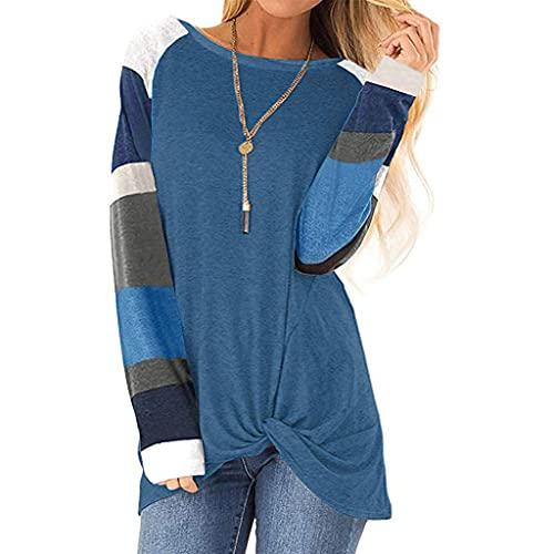 Julhold Blusa para mujer otoño raya impresión suéter suelto Tops suéter casual blusa patchwork camiseta