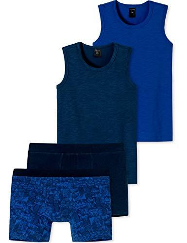 Schiesser Jungen Teens - großes 4 teiliges Unterwäsche Set Unterhemd + Shorts aus der Serie Surfer Style Blau/Royal