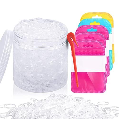 XCOZU 2000 Stück Haargummis, Mini Elastische Haargummis Bänder mit Box, 1 Stück Entferner Cutter, 5 Stück Selbstdichtende Taschen, Transparent Gummi Haarbänder für Frauen Mädchen Kinder Flechten