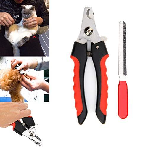 Oulian Profi Krallenschere für Hunde & Katzen, Krallenschere Nagelschere + Krallenfeile für Hunde, Katzen und Kleintiere, Splitterfreie Krallenpflege durch scharfe Edelstahlklingen