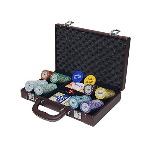 MARYYUN Juego de fichas de póquer de casino y póquer Texas Hold'em Clay Poker Chips Sets Poker PU Maleta de metal Caja de monedas de póquer fichas de poker (Color: 200 piezas)