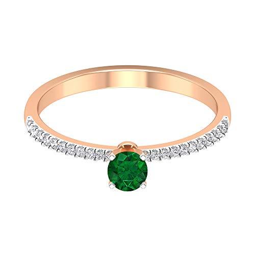 Anillo solitario de esmeralda de 1/4 quilates con piedra lateral de diamante, anillo de compromiso de oro de 2 tonos (calidad AAA), oro de 14 quilates, Metal, Diamond Emerald,