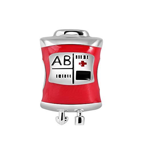 GNOCE Blood Bag Charm Bead Plata de Ley Red Esmalte Charm Se Adapta a Todas Las Pulseras/Collar De Regalo De Joyería Para Médico Enfermera