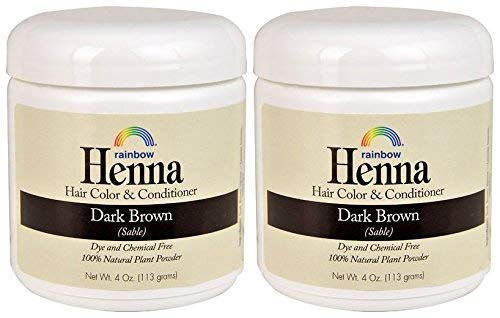 Rainbow Research Henna Dark Brown Hair Color and Conditioner (Pack of 2) With Indigofera, 4 oz. each.