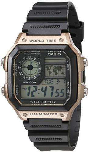 Casio Reloj de cuarzo japonés para hombre, 10 años, con correa de resina, negro, 21 (modelo: AE-1200WH-5AVCF)