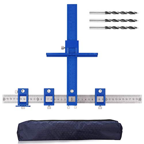 Drill Guide Jig Adjustable Cabinet Handle Template Tool Guide Sleeve Power Tools Punch Locator Wood Jigs for Installation of Handles Knobs on Doors and Drawer