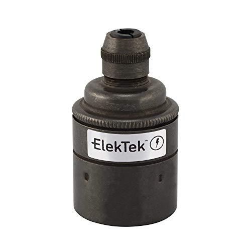 Casquillo ES E27 ElekTek de rosca Edison para lámpara colgante con conexión a cable y faldón sencillo, ideal para bombillas de filamento vintage Bronce