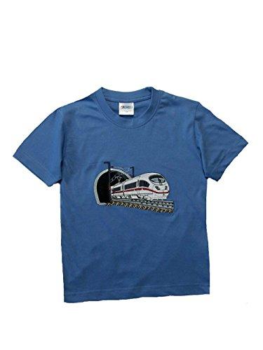 Zintgraf Oeko-TEX® T-Shirt Stickerei Schnellzug Eisenbahn J28 (110, Azur)