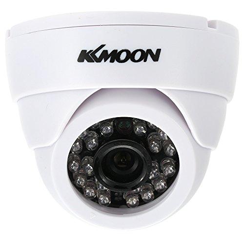 KKmoon HD 1200TVL Cámara de Vigilancia en Domo 1/3' CMOS IR-Cut CCTV Sistema de Seguridad Indoor Visión Nocturna PAL, Color Blanco/Negro
