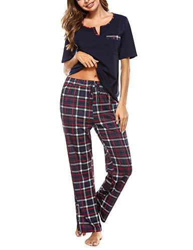 Doaraha Pijama a Cuadros para Mujer Camiseta y Pantalones Pijamas Manga Larga Celosía Ropa de Dormir de Algodón Manga Corta con Cuello de Muesca 2 Piezas (A#1 Azul Oscuro (pantalón Largo), S)