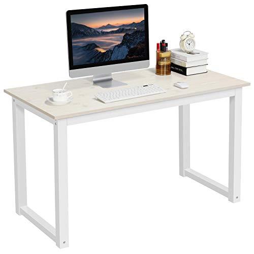 Yaheetech Mesa Escritorio Ordenador Grande 120x60cm Minimalistas Escritorios Modernos para Oficina Despacho Estudio Blanco Brillo
