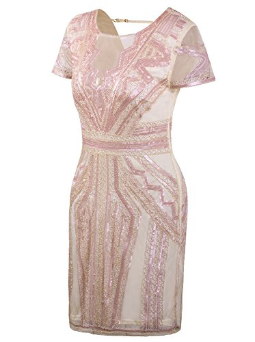 VIJIV Flapper Dresses 1920s Gatsby Art Deco Sequin Inspired Style Party Homecoming Dress Beige Pink XS