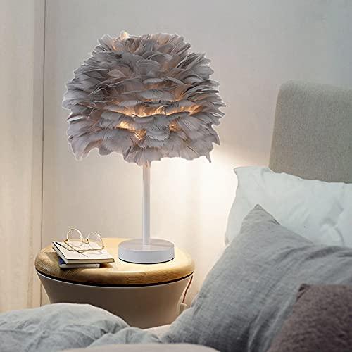CYzpf Lámparas Mesita de Noche Pluma Lámpara de Mesa Pequeña Creativa con Mando a Distancia LED Moderna Luces de Escritorio Luz de Lectura para el Dormitorio Sala de Estar Oficina,Gray
