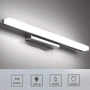 Luxvista 57CM 9W Lámpara de Aplique Espejo Baño LED Interior, Luz de Pared Maquillaje de Vidrio Esmerilado, Cuarto de…