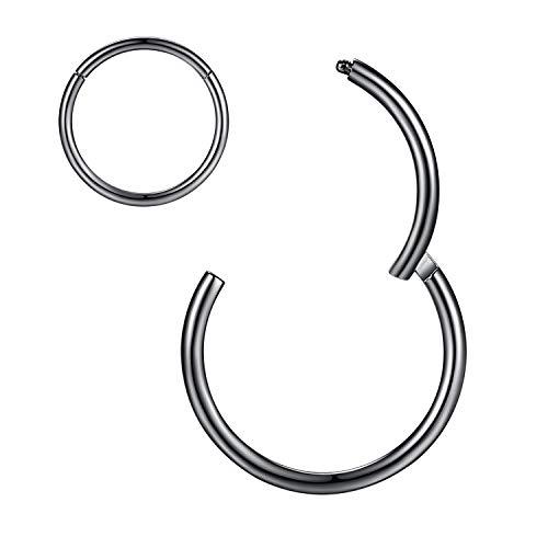 Black Nose Rings 16 Gauge Nose Ring Hoop Earrings For Women 16g Nose Hoop Septum Jewelry Surgical Steel Septum Ring Septum Clicker Lip Rings Helix Earring Rook Earring Conch Cartilage Earring 10mm
