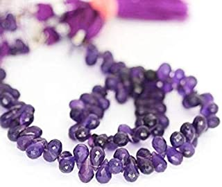 "Jewel Beads Natural Beautiful jewellery Purple Amethyst Faceted Tear Drop Briolette Gemstone Beads Strand 10"" 6mmCode:- JBB-48220"