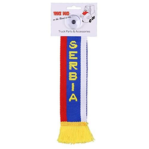 TRUCK DUCK® LKW Auto Minischal Serbien Serbia Mini Schal Wimpel Flagge Fahne Saugnapf Spiegel Deko