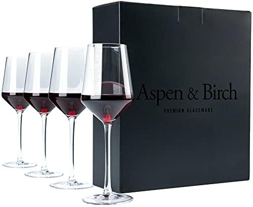 Aspen & Birch - Classic Wine Glasses Set of 4 - Red Wine Glasses or White...