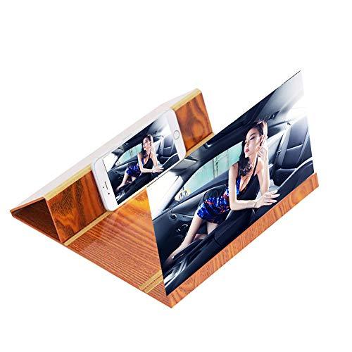 GHundYY 12 inch Bildschirm Vergrößerungsglas für Handy, Verstärker des Displays des Desktop-Monitors aus Holz 3D Handy Stereoscopic Verstärkung für iPhone & Smartphone braun