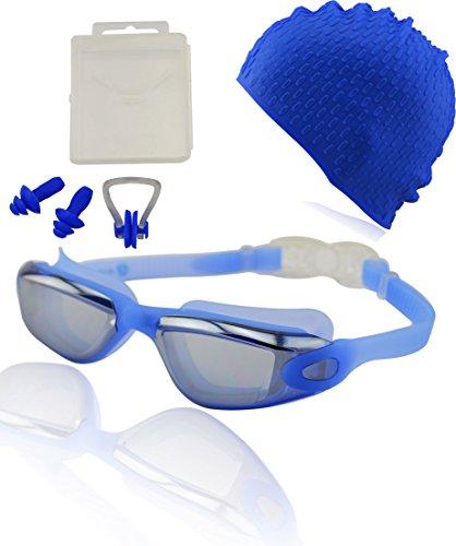 #DoYourSwimming »Orca« Schwimmbrille + Badekappe + Ohrenstöpsel + Nasenclip / 100% UV-Schutz + Antibeschlag Silikon + stabile Box/AF-1600m, blau