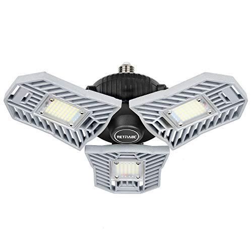 Retinabc B07ZWPDJJD-M Deformable, 60W 6000LM 6000K, E26 LED Bulb Shop Light for Garage, Ceiling Basement, Workshop, Warehouse (No Motion Activated), Silver