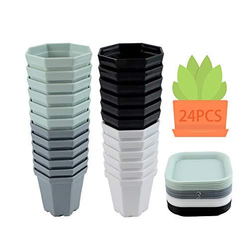 MEISHANG 24PCS Piattino Mini Vasi da Plastica,Vasi da Fiori in Plastica con Pallet,Vaso da Fiori in Plastica Ottagonale,Vasi in Plastica per Piante Grasse,Plastica Colorati Vasi Fiori