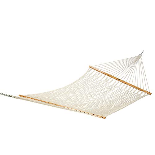 Original Pawleys Island 14OC Original Deluxe Cotton Rope Hammock with Free Extension Chains & Tree Hooks, Handcrafted in The USA, Accommodates 2 People, 450 LB Weight Capacity, 13 ft. x 60 in.