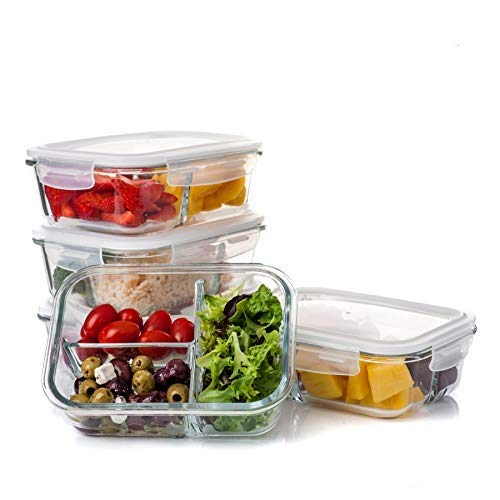 CASA DI CIBO 5 Pack, Meal Prep, Containers Glass, 3 Compartment, Reusable Glass Food Storage Containers with Lids, Dishwasher Microwave, Oven & Freezer Safe, Meal Prep Boxes, BPA Free, 930ml 30oz