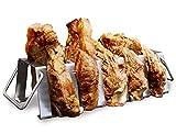 ACCESSORI BBQ (Cuocere in Verticale): Supporto per Costine, Costata di Manzo, Fiorentina Carne e T-Bone (NORMAL - 5 Costate da 800 g) Barbecue Gas, Barbecue Carbonella, Barbecue a Legna