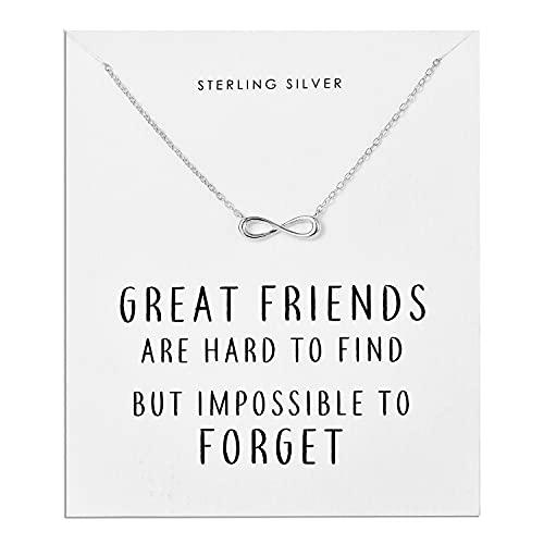 Philip Jones Sterling Silver Infinity Friendship Quote Neckl