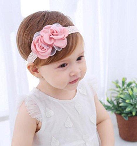 Driverder Chic y Novela Baby Vintage Lace Hairband Decoraciones de Flores Diademas (Rojo)