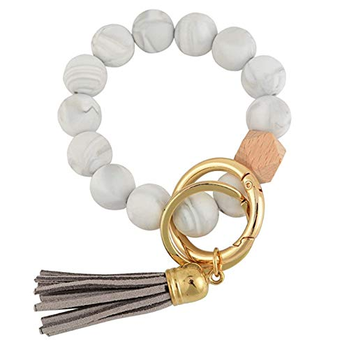 GaxQuly Portable House Car Keys Ring Holder Elastic Beaded Silicone Bracelet Bangle Wristlet Keychains Tassel