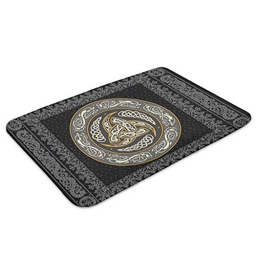 kikomia Alfombrilla de baño supersuave vikingo con triple cuerno de Odin Dragón celta Knot Fathurk impresión abstracta, para interior y exterior, color blanco, 40 x 60 cm